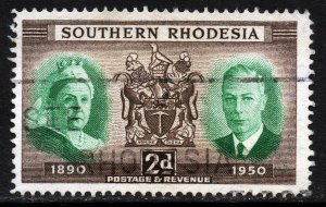 SOUTHERN RHODESIA KG VI 1950  Diamond Jubilee 2d Green & Brown SG 70 VFU