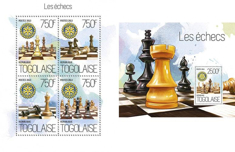 Chess Schach Rotary Club Games Sports Togo MNH stamp set