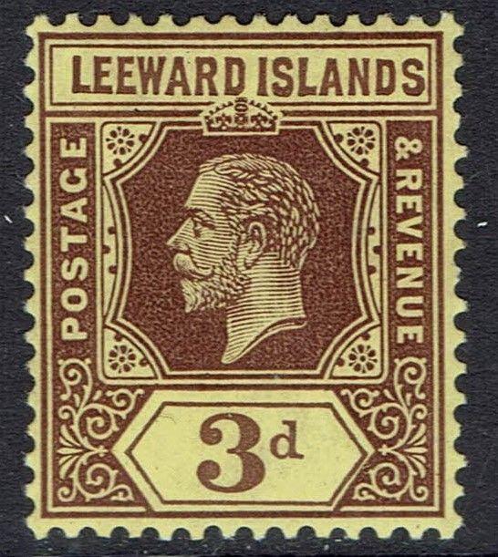 LEEWARD ISLANDS 1912 KGV 3D ON WHITE BACK WMK MULTI CROWN CA