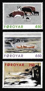 Faroe Is. Paintings by Janus Kamban 3v SG#315-317 SC#307-309