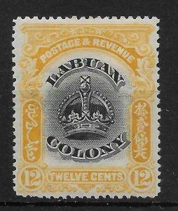 LABUAN SG123b 1902 12c BLACK & YELLOW p16 MTD MINT