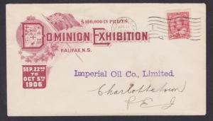 Canada Sc 90 on 1906 Dominion Exhibition Cover, Halifax - Charlottetown, PEI