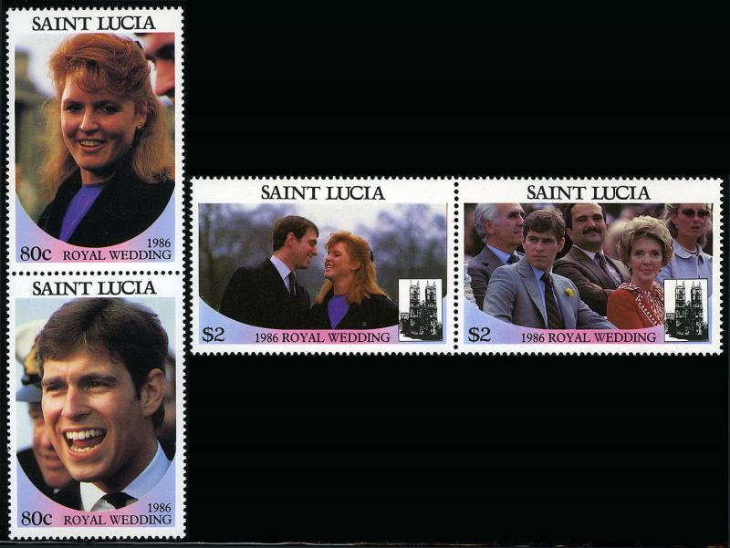 St. Lucia MNH 539-40 Pairs Royal Wedding Prince Andrew & Sarah SCV 3.50