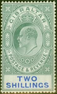 Gibraltar 1903 2s Green & Blue SG52 Fine & Fresh Lightly Mtd Mint