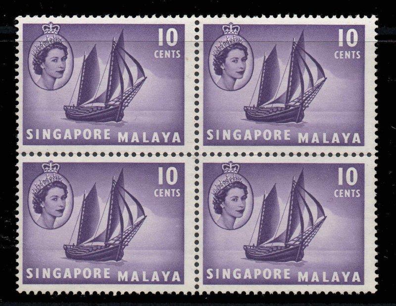 Malaya Singapore 1955 QEII 10c ship SG 44 block of 4 mint