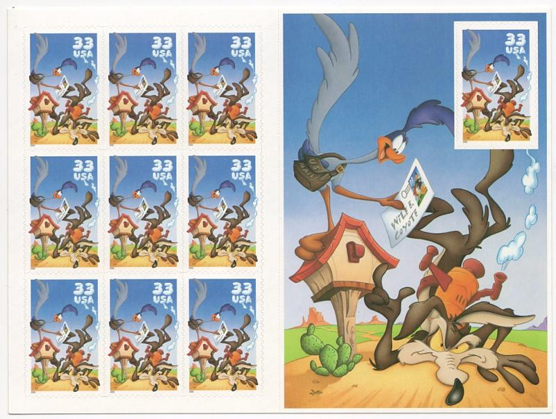 US#3391 Road Runner & Wile E. Coyote - Pane of 10 - Mint - N.H.