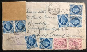 1943 British Field Post Office Middle East Forces Cover To New York USA