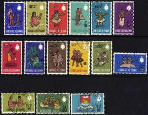 Gilbert and Ellice Is SG110/24 Surcharge Set of 15 Fine Used