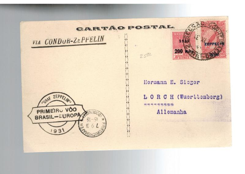 1931 Brazil Graf Zeppelin Flown Postcard cover to Lorch Germany LZ 127 # C26