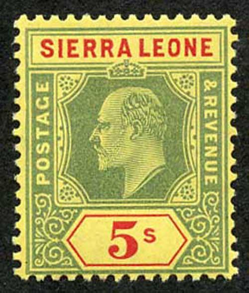 Sierra Leone SG110 KEVII 5/- Green and Red on yellow U/M