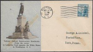 USA 1933 5c KOSCIUSZKO Sc 734 on ROESSLER Cachet BUFFALO NY FDC Cover