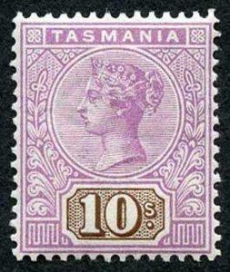 Tasmania SG224 1892 10/- Mauve and Brown M/M Cat 190 pounds