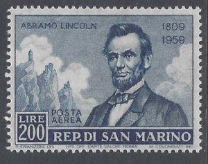San Marino, Scott #C108; 200l Abraham Lincoln, MH