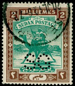 SUDAN SGO13, 2m green & brown, FINE USED.
