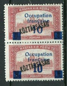 Hungary 1919 French Occupation 10k/1k Koztarsasg Sc #1N38/39 Pair Mint M62