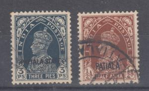 India, Patiala Sc 80, 99 used 1938 & 1943 KGVI (10)