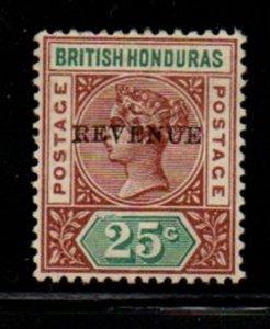 British Honduras Sc 50 1899 REVENUE overprint on 25 c  Victoria stamp mint