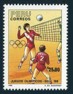Peru 945-946,MNH.Michel 1386-1387. Olympics Seoul-1988, Women's volleyball.
