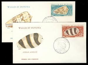WALLIS & FUTUNA - 1976 - 20fr & 23fr SHELLFISH FDCs Scott 189/190 YV192/3 (0389)