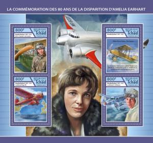 CHAD - 2017 - Amelia Earhart - Perf 4v Sheet - MNH