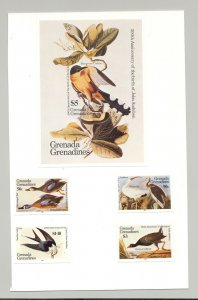 Grenada (Grenadines) #637-641 Audubon Birds 4v & 1v S/S Imperf Proofs on Card