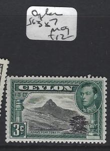 CEYLON  (P2405B) KGVI   3C  SG 387   MOG