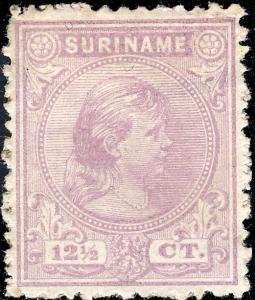 SURINAM - 1893 - Mi.30 12 1/2c violet Mint Hinged