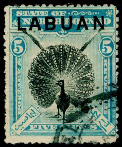 LABUAN SG114, 5c black & pale blue, USED. Cat £23.