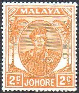 Johore 1949 2c orange MH