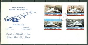 NEW HEBRIDES FRENCH...CONCORDE #274-277  on FDC