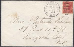 United States New York Alexandria Bay 1903 duplex  Mourning cover.