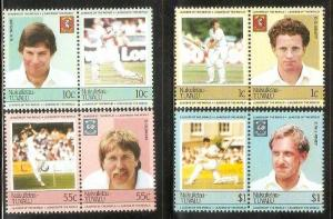Tuvalu - Nukufetau 1985 Famous Cricket Player Sport 8v MNH # 0739