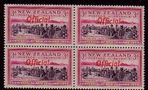 NEW ZEALAND 1940 Centenary 3d OFFICIAL block of 4 MNH. ....................40345