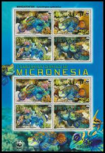 Micronesia WWF Mandarinfish Sheetlet of 2 sets MI#2052-2055 SC#848a-d