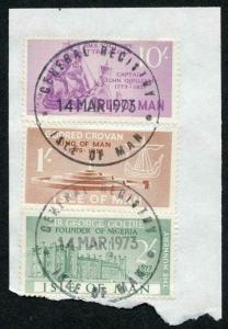 Isle of Man 10/- 2/- and 1/- QEII Pictorial Revenues CDS On Piece