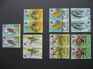 LESOTHO birds set 321b-27b MNH imperf pairs!!  PLZ read description!