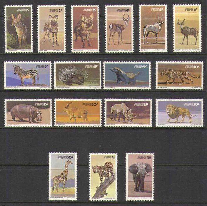 South West Africa/Namibia 1980 Animals Definitive Set of 17. MNH