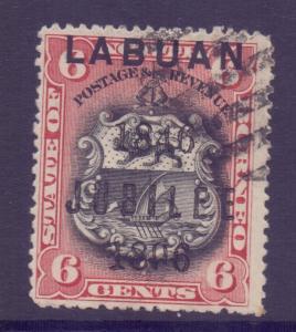 North Borneo Labuan Scott 53 - SG67, 1894 6c used CTO