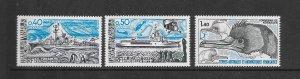 FRENCH SOUTHERN ANTARCTIC TERRITORIES #77-79 SHIPS & BIRD  MNH