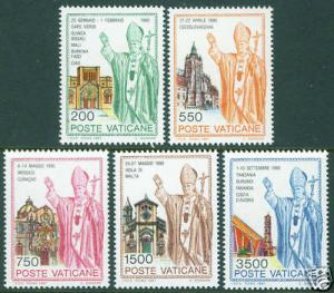 VATICAN Scott 890-894 Pope JP II  MNH** 1991 travels set