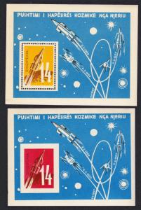 Albania Space Cosmic Flights 2 MSs perf and imperf SG#MS711a MI#Block 9-10