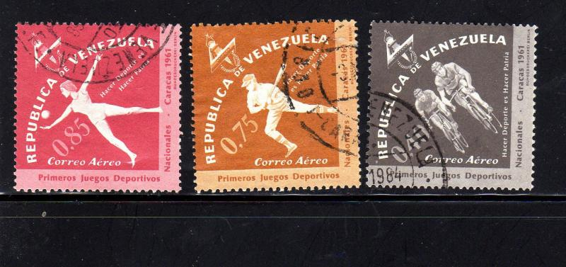 VENEZUELA #C808-C810  1962  NATIONAL GAMES    F-VF USED