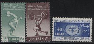 LEBANON, C266-C268, (3) SET, HINGED, 1959, 3rd Mediteranian Games, Beirut
