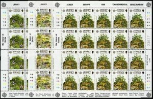 Jersey 396-398 sheets,MNH.Michel 378-380 klb. EUROPE CEPT-1986.Plants.