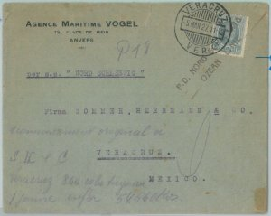 81867  -  BELGIUM - POSTAL HISTORY -  COVER to MEXICO Via GERMAN SHIP  1927
