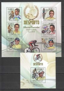 BC1353 2010 MOZAMBIQUE SPORT CYCLING TOUR DE FRANCE ALBERTO CONTADOR 1KB+1BL MNH