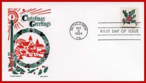 US FDC FDC #1254 M11 5c Christmas 1964 Cachet Craft - Boll Cachet