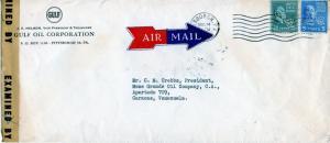 U.S. Scott 825 & 810 On Censored 1944 Cover to Venezuela from Gulf Oil Corp