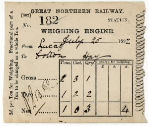 (I.B) Great Northern Railway : Weighing Engine Docket (Lucas to Bolton)