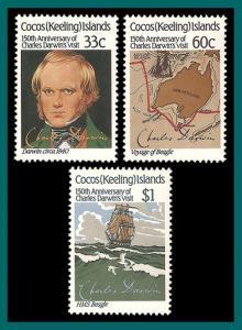 Cocos 1986 Charles Darwin, MNH  #152-154,SG152-SG154